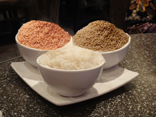 white brown red rice